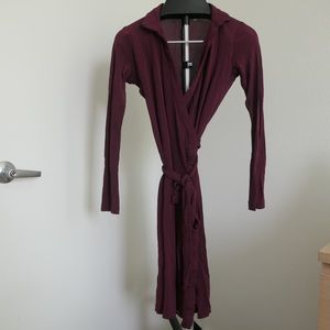 Aritzia Babaton Burgundy Wrap Dress - S